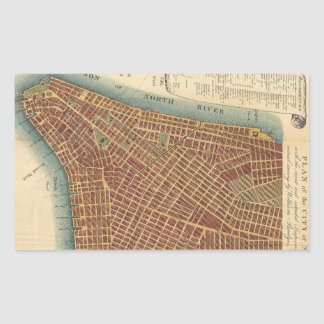 Vintage Map of Lower New York City (1807) Rectangle Sticker