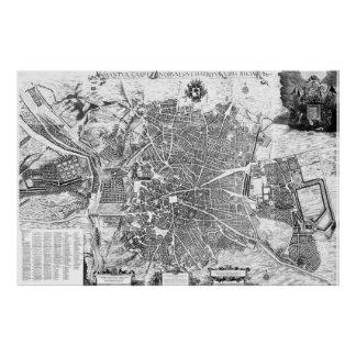 Vintage Map of Madrid Spain (1656) BW Poster