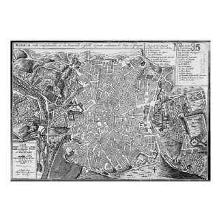 Vintage Map of Madrid Spain (1702) BW Poster