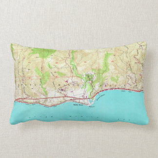 Vintage Map of Malibu California (1950) Lumbar Pillow