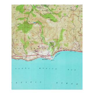 Vintage Map of Malibu California (1950) Poster