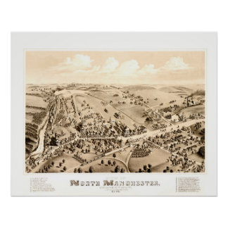 Vintage map of Manchester, CT in 1880 Poster