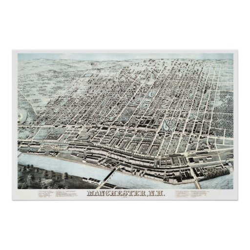 Vintage map of Manchester, NH from 1876 Poster