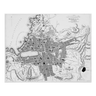 Vintage Map of Marseille France (1840) BW Poster