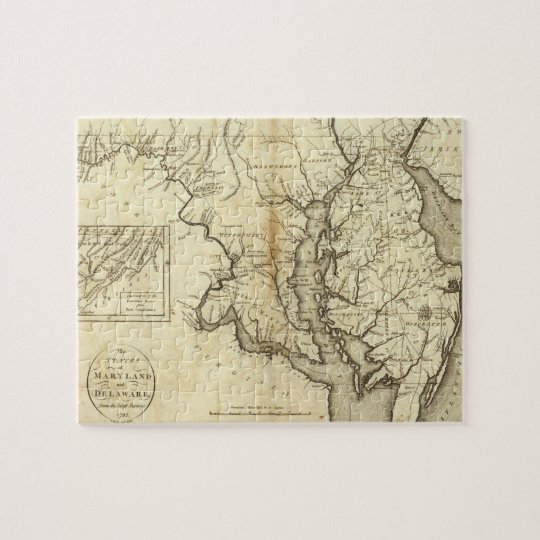 Vintage Map of Maryland (1796) Jigsaw Puzzle