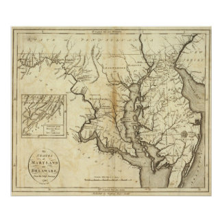 Vintage Map of Maryland (1796) Poster