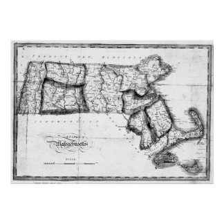 Vintage Map of Massachusetts (1827) 2 BW Poster