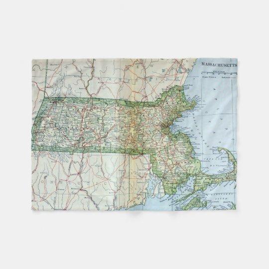 Vintage Map of Massachusetts (1905) Fleece Blanket