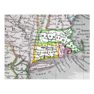 Vintage map of Massachusetts, Connecticut Rhode I. Postcard