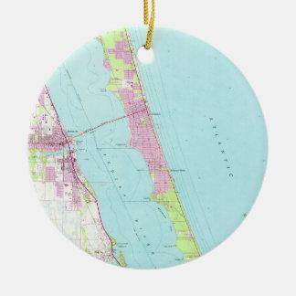 Vintage Map of Melbourne Florida (1949) Ceramic Ornament
