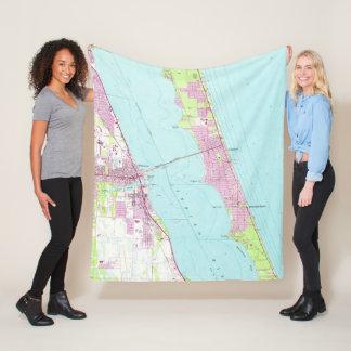 Vintage Map of Melbourne Florida (1949) Fleece Blanket