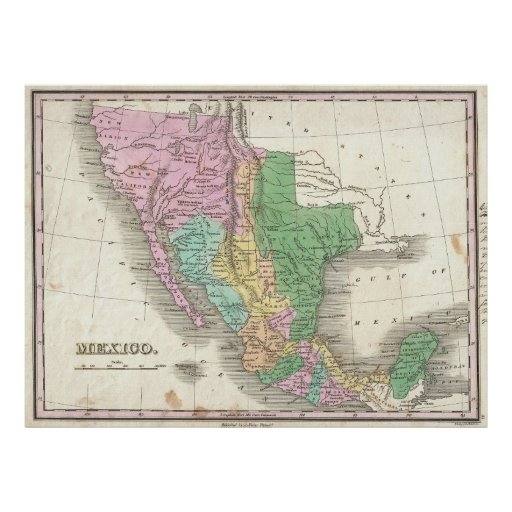Vintage Map of Mexico (1827) Poster