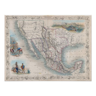 Vintage Map of Mexico (1851) Poster