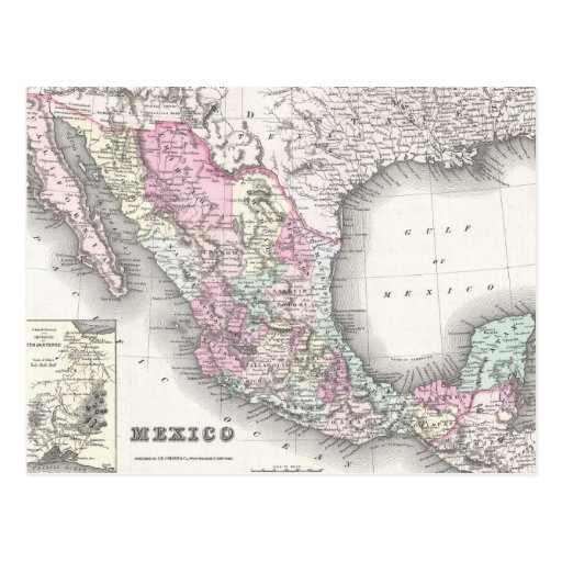Vintage Map of Mexico (1855) Post Card