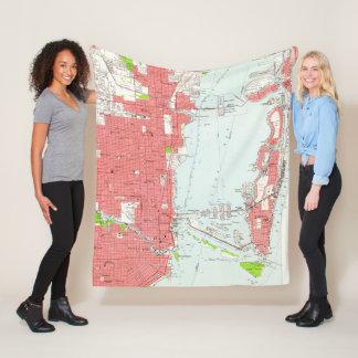 Vintage Map of Miami Florida (1950) 2 Fleece Blanket
