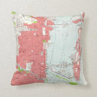 Vintage Map of Miami Florida (1950) 2 Throw Pillow