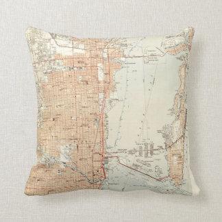 Vintage Map of Miami Florida (1950) Throw Pillow