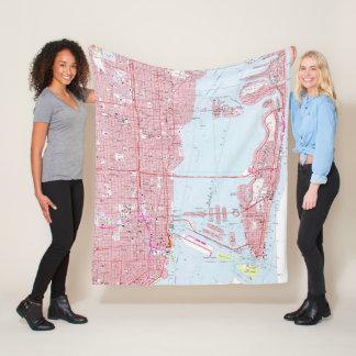 Vintage Map of Miami Florida (1962) Fleece Blanket