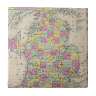 Vintage Map of Michigan (1853) Tile