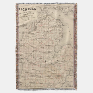 Vintage Map of Michigan (1873) 2 Throw Blanket