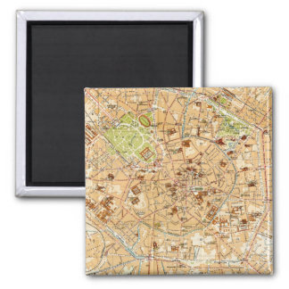 Vintage Map of Milan Italy (1914) Square Magnet