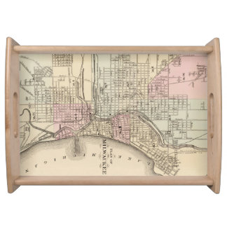 Vintage Map of Milwaukee 1880 Service Trays