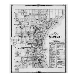 Vintage Map of Milwaukee Wisconsin (1878) BW Poster