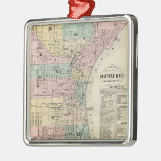 Vintage Map of Milwaukee Wisconsin (1878) Metal Ornament