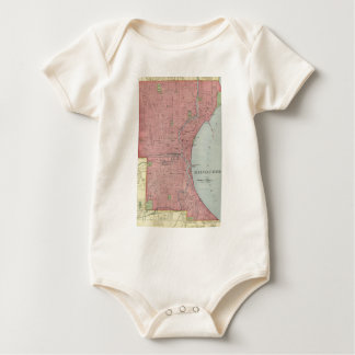 Vintage Map of Milwaukee Wisconsin (1903) Baby Bodysuit