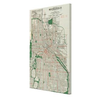 Vintage Map of Minneapolis Minnesota (1921) Canvas Print
