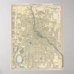 Vintage Map of Minneapolis MN (1891) Poster