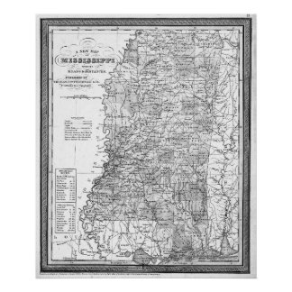 Vintage Map of Mississippi (1853) BW Poster