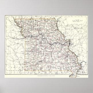 Vintage Map of Missouri (1883) Poster