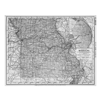 Vintage Map of Missouri (1891) BW Poster