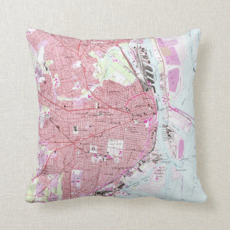 Vintage Map of Mobile Alabama (1953) Throw Pillow