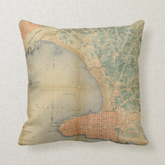 Vintage Map of Montevideo Uruguay (1867) Throw Pillow