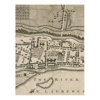 Vintage Map of Montreal (1758) Post Card