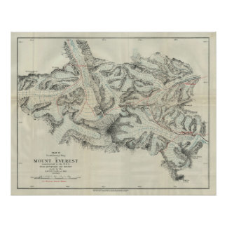 Vintage Map of Mount Everest (1921) Poster