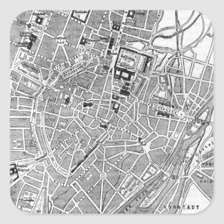 Vintage Map of Munich Germany (1884) Square Sticker