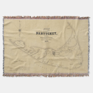 Vintage Map of Nantucket (1838) Throw Blanket