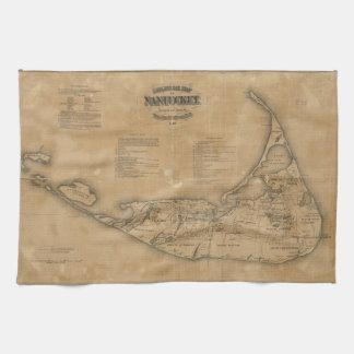 Vintage Map of Nantucket (1869) Hand Towels