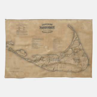 Vintage Map of Nantucket (1869) Kitchen Towel