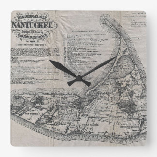 Vintage Map of Nantucket Clock