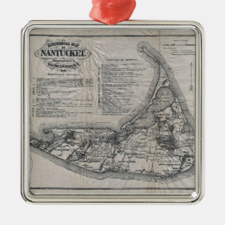 Vintage Map of Nantucket Silver-Colored Square Ornament