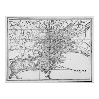 Vintage Map of Naples Italy (1901) BW Poster