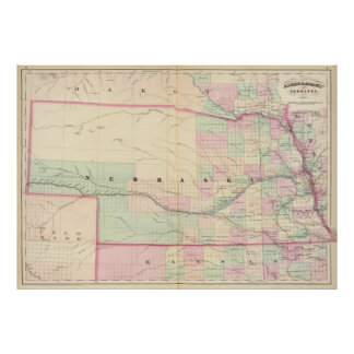 Vintage Map of Nebraska (1874) Poster
