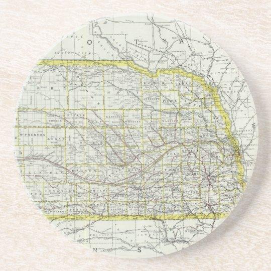Vintage Map of Nebraska (1889) Coaster