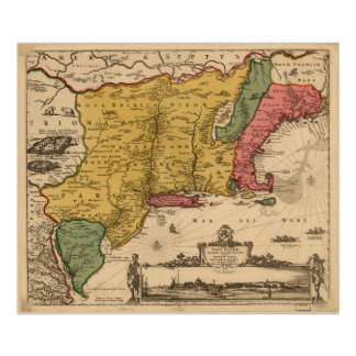 Vintage Map of New England (1685) Poster