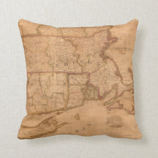 Vintage Map of New England States (1843) Throw Pillow