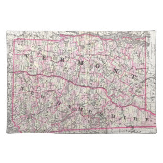 Vintage Map of New Hampshire and Vermont (1861) Placemat